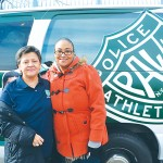"""""""I can't put into words how special this is,"""" PAL's Miriam Peña (left) with Tiera Berry of the food donations."""
