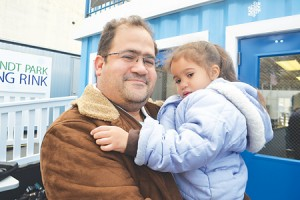 """""""I'm excited,"""" said Angelo Ortiz of the new ice-skating adventures he'll plan for his daughter Isabella."""