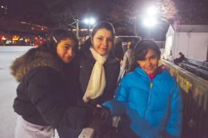 Emily Bonilla, Alissa Pérez and Idalys Pérez enjoyed celebrating Alissa's 15th birthday on ice.
