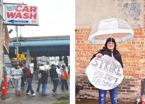 Car washers from Sunny Day Car Wash gathered to protest working conditions.