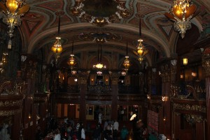 The interior of the theater boasts baroque architecture and design details.
