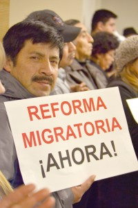 Residents and advocates gathered to call for immigration reform at the Hispanic Federation.