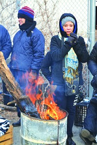 A fire is daily lit to help keep picketers warm.