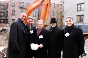Members from Volunteers of America, the Housing Collaborative, Supportive Housing Network of New York, and Red Stone Equity posed together after the Creston Avenue Residence groundbreaking ceremony. Housing Collaborative co-developer Robert Sanborn (far right) said they are targeting housing needs as well as health care needs all in one project.