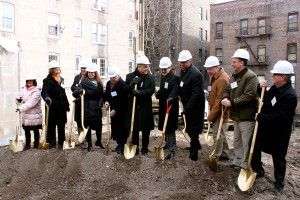 Representatives from Volunteers of America, the Housing Collaborative and other state and local organizations gathered at the Creston Avenue Residence groundbreaking ceremony