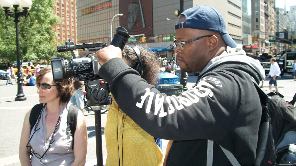 BronxNet student George Williams wields his skills.