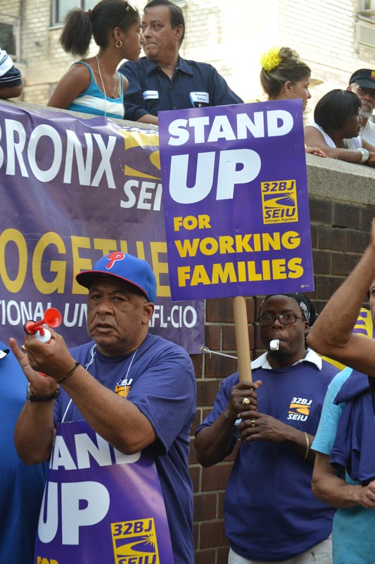 Workers at Concourse Village protested against the buildings' co-op board.