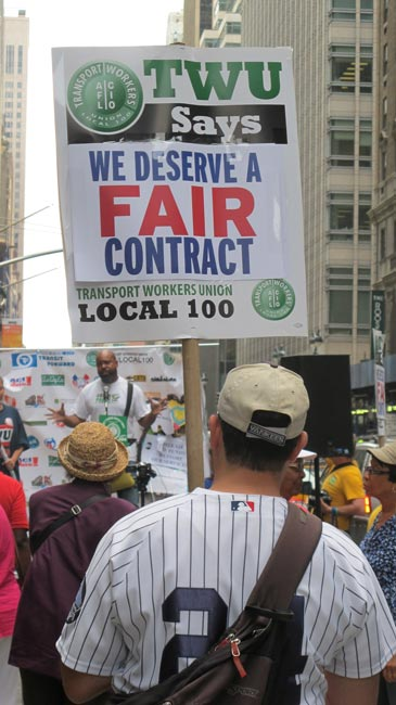 TWU workers, residents and elected officials rallied outside MTA headquarters.