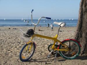 Take a ride to beach by bike.