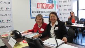 Lourdes Torres (left) and Ana García-Reyes (right) of Hostos Community College served as volunteers.