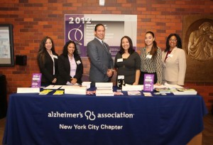 Roberto Reyes Jr., Latino Outreach Manager for the Alzheimer's Association, and members of the organization's team, during the special forum held at Lincoln Medical Center's Auditorium on October 15th. Photo:  Linda Morales, Lincoln Medical Center