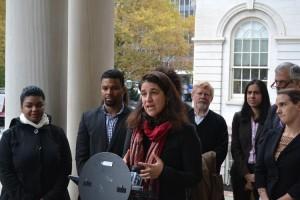 """""""The due process violations are astounding,"""" said Angela Fernández, Executive Director of the Northern Manhattan Coalition for Immigrants' Rights, of immigration law.  Photo: Center for Popular Democracy"""