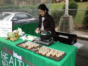 Chef Bianca Rivera served up samples of hot soup.