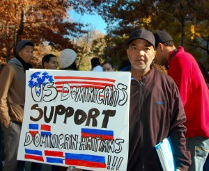 Community members gathered uptown to march in protest against the Dominican constitutional tribunal ruling TC/0168/13.