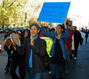 Protestors marched from 207th Street downtown to the Dominican Consulate at 42nd Street.