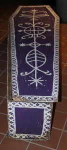 A coffin was displayed as part of the evening's festivities.