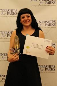 Laura Álvarez was awarded the Partnerships for Parks Bronx Volunteer Award.