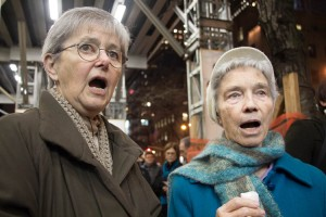 Eileen Judge (left) and Lily Butler of The Sisters of Charity of New York sang carols.