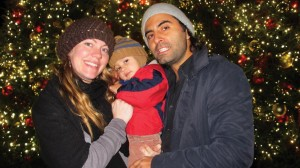 """""""I like the old-fashioned crystal ornaments,"""" said Tricia Guerra, with her husband Cheri and son Zeblan."""