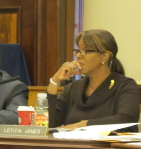Public Advocate-elect Letitia James attended the hearing.