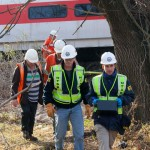 Members of the National Transportation Safety Board (NTSB) secured the train's black boxes. Photo: NTSB