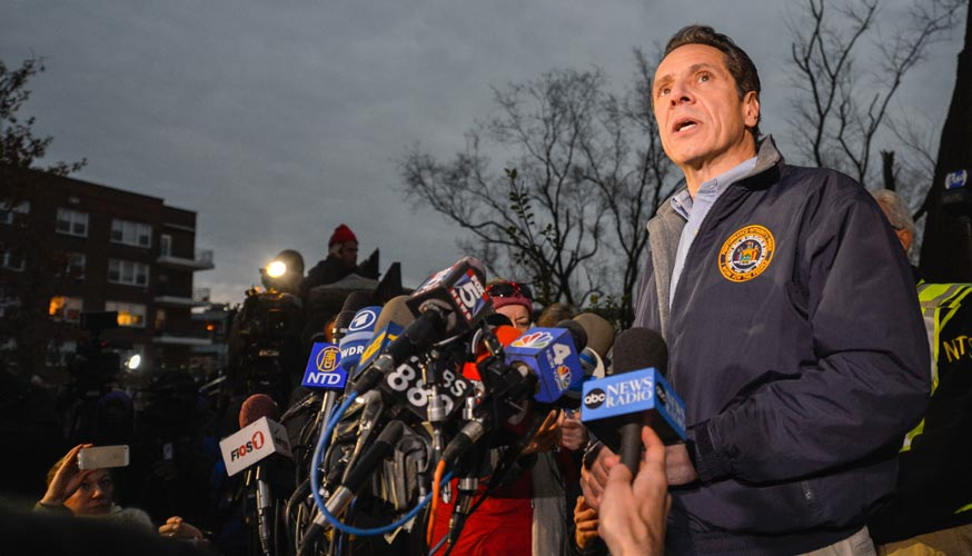 """""""A lot of dirt and stones and tree limbs were going through the cars,"""" said Gov. Andrew Cuomo.  <i>Photo: D. Santos</i>"""