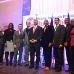 The Bronx delegates of the City Council stand with the Borough President and Deputy Borough President Aurelia Greene.