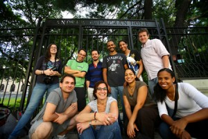 Film crew poses in front of Andrew Freedman Home(web)