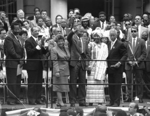 """""""It was a historic moment,"""" says photographer Malcolm Pinckney, of capturing Mandela's 1990 visit to City Hall."""