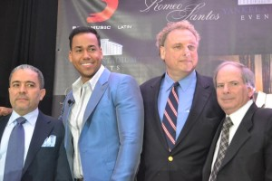 From left to right: Felix Cabrera, head of Latin Events LLC; artist Romeo Santos; Randy Levin, New York Yankees President and Lonn Trost, New York Yankees COO. Photo: R. Kilmer