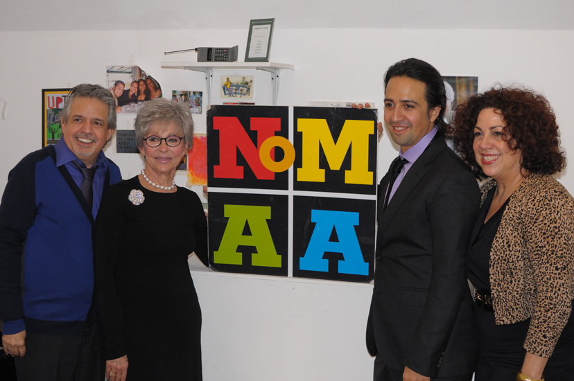 Moreno visited the Northern Manhattan Arts Alliance (NoMAA), including Board Secretary and The Manhattan Times publisher Luis Miranda, NoMAA Executive Director Sandra García-Betancourt and In the Heights creator Lin-Manuel Miranda