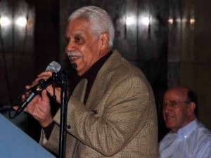 Salsa legend Miguel Angel Amadeo accepts his induction.