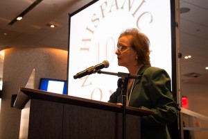 100 Hispanic Women President Milagros Baez O'Toole spoke on the significance of leadership.  Photo: M. Cummings
