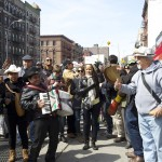 Protestors included a mariachi band.