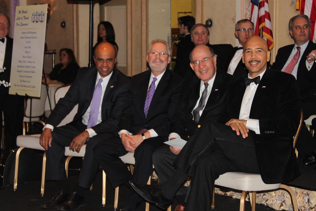 Celebrating the Bronx's centennial were (from left to right) former Bronx Borough Presidents Adolfo Carrión, Jr.; Fernando Ferrer; and Robert Abrams. Borough President Ruben Díaz, Jr. served as the keynote speaker.