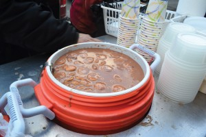 Coolers filled with <i>habichuelas con dulce</i> run out about every hour.