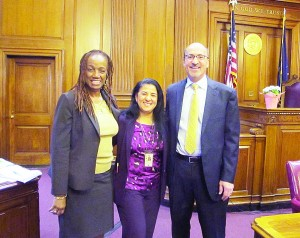 From left to right: Deputy Chief Clerk Earnestine Glover, Acting Supervising Magdalena Porrata, and Chief Clerk Michael P. Hausler.
