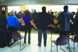 Congregants at the church held hands.