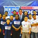 State Senator Jeff Klein joined with local youths at the Kips Bay Boys and Girls Club in kicking off its third hockey clinic.