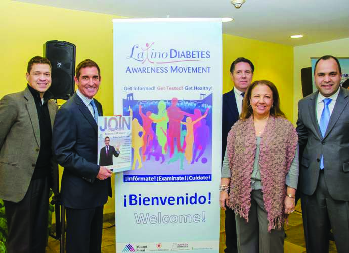 The Second Annual Latino Diabetes Awareness Movement campaign was launched at Urban Health Plan, Inc. Pictured from left to right: Diabetes advocate Henry Cruz; Sen. Jeff Klein; President and COO of Mount Sinai Hospital Wayne Keathley; President and CEO of Urban Health Plan Paloma Izquierdo-Hernández; President of The Hispanic Federation Jose Calderón.