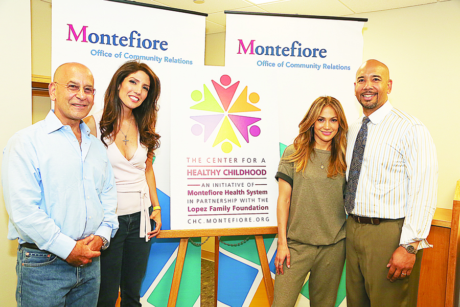 From left to right:Steven M. Safyer, M.D., President and CEO, Montefiore; Lynda and Jennifer López, of the López Family Foundation; and Rubén Díaz, Jr., Bronx Borough President.