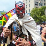 Black Zemis marched with fellow members of the Bronx Wrestling Federation. He came to share the history of the Taínos and to promote wrestling.