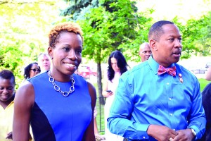 NYCHA Chair Shola Olatoye and Councilmember Andy King tour Boston Secor Houses.