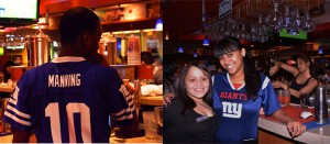 Many of the restaurant's staff chose to show their allegiance to the home team, the Giants, by wearing the team's blue jerseys.