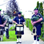Bagpipers played after the dedication.