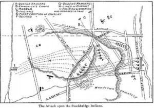 This map details the Stockbridge Indian Massacre, also known as the Battle of Kingsbridge.
