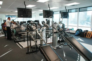 Westchester Square is a comprehensive practice that includes 'treadmills', elliptical machines, stationary bikes and balance machine in which patients, both young and old, injured or just looking to maintain their physical strength, exercise under the watchful eyes - and arms - of trained physical therapists and assistants who ensure that their techniques are aligned and accurate.