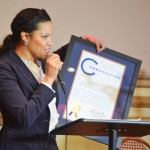 Wendy García, Deputy Chief Diversity Officer in the City Comptroller's Office, presented proclamations.
