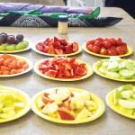 Samples of seasonal fruits and vegetables.