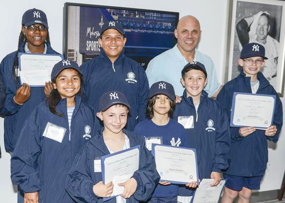 Front row (left to right):  Mia Gironza – Brooklyn, Christian Comodo – Staten Island, Renzo Castrucci – Manhattan and Daniel Gall – Queens, and Patrick Benn – Orange & Rockland.Back row (left to right): Olivia Guilford – Bronx, Francisco Maldonado – Westchester and Jim Leyritz – former New York Yankees.